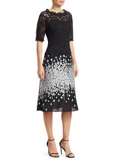 Teri Jon Lace & Jacquard A-Line Dress