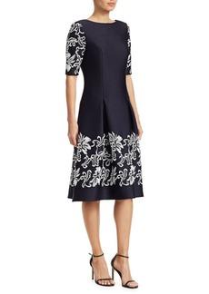 Teri Jon Lace Appliqué Short-Sleeve Dress