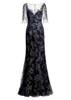 Teri Jon Lace Appliqué Tulle Gown