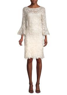 Teri Jon Lace Bell-Sleeve Sheath Dress