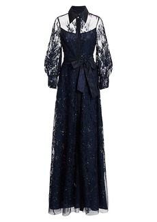 Teri Jon Lace Embellished Tie-Waist Maxi Shirtdress