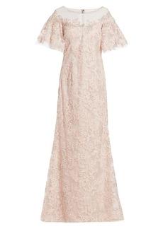 Teri Jon Lace Flutter-Sleeve Gown
