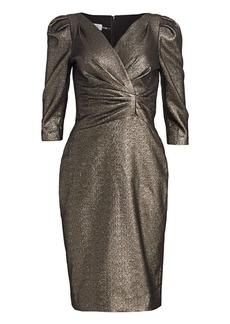 Teri Jon Lamè Metallic Puff Sleeve Sheath Dress