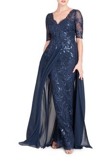 Teri Jon Layered Chiffon & Sequin Gown