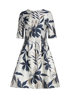 Teri Jon Leaf-Print Jacquard Dress