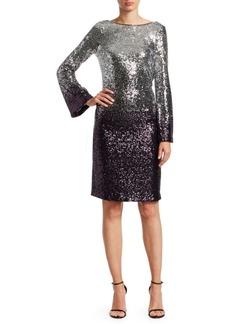 Teri Jon Long-Sleeve Sequin Cocktail Shift Dress