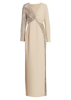 Teri Jon Long-Sleeve Sequin Front-Twist Gown