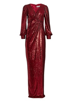Teri Jon Long-Sleeve Sequin Gown
