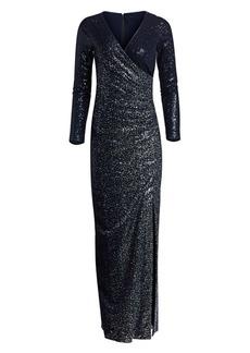 Teri Jon Long Sleeve Side Slit Sequin Dress