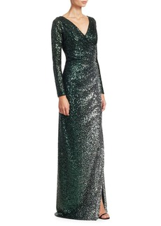 Teri Jon Long Sleeve Side Slit Sequin Dress