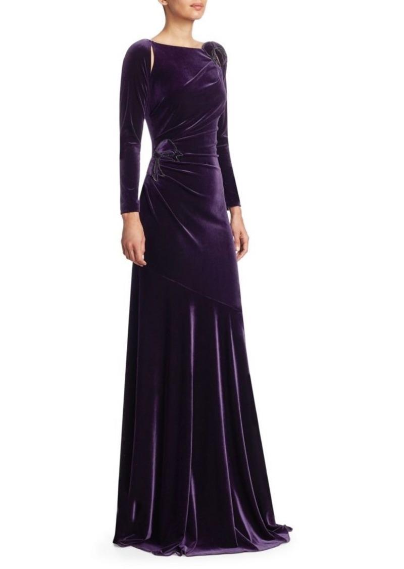 Teri Jon Long-Sleeve Velvet Appliqué Gown