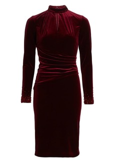 Teri Jon Long-Sleeve Velvet Keyhole Embellished-Cuff Sheath Dress