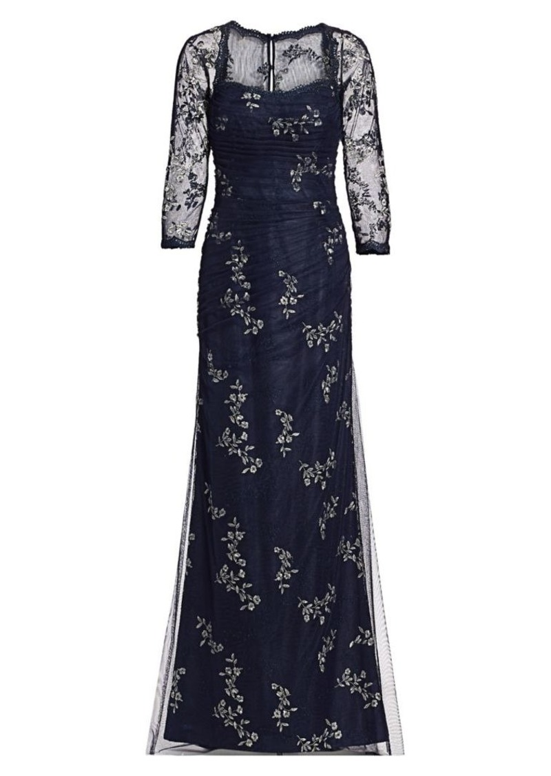 Teri Jon Mesh Long-Sleeve Embroidered Floral Gown