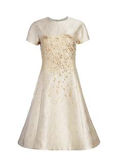 Teri Jon Metallic Cap-Sleeve Sea Jacquard A-Line Dress