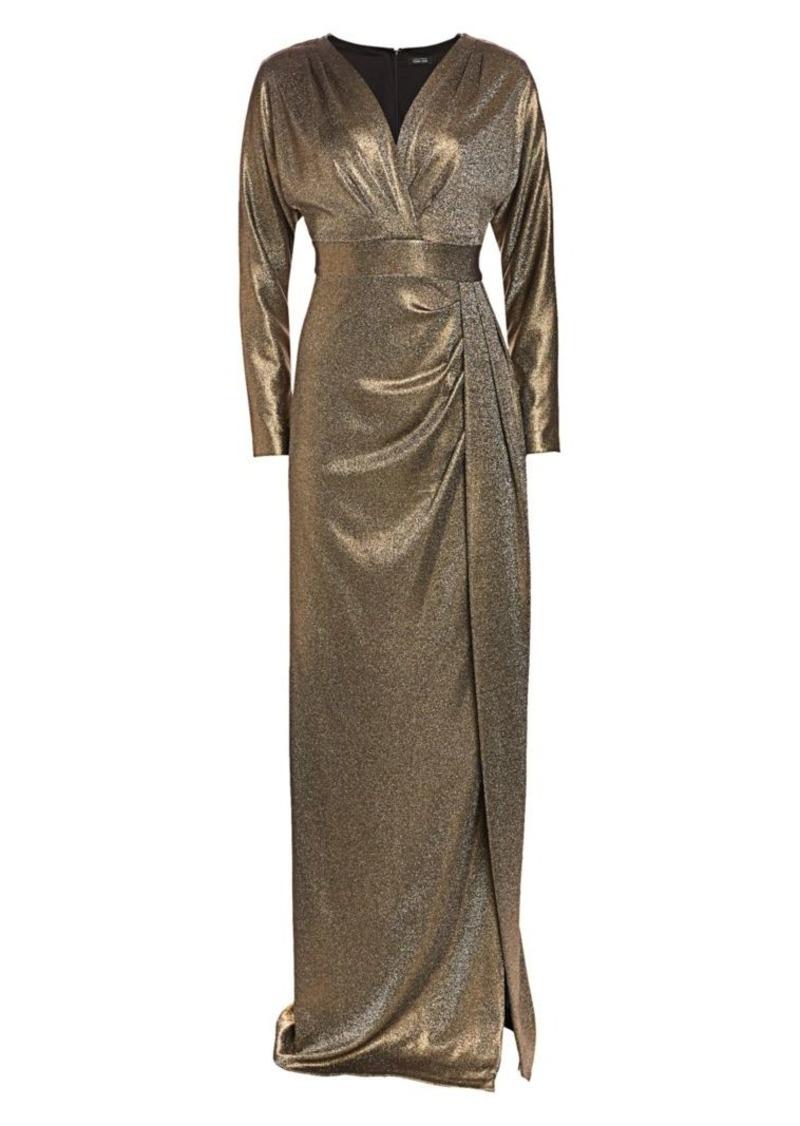 Teri Jon Metallic Dolman Sleeve Gown