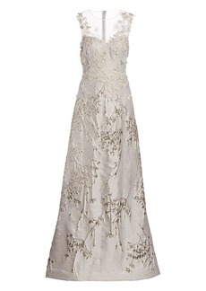 Teri Jon Metallic Floral Embroidered & Appliqué Sheer Yoke A-Line Gown
