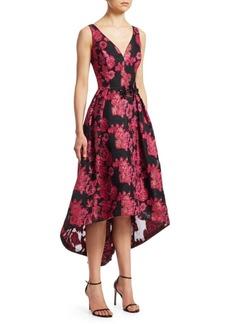 Teri Jon Metallic Floral High-low Jacquard Dress
