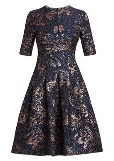 Teri Jon Metallic Jacquard A-Line Dress