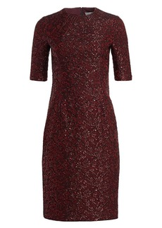 Teri Jon Metallic Jacquard Cocktail Dress