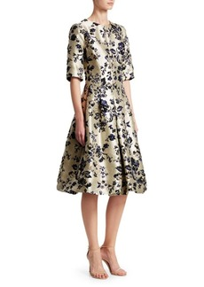 Teri Jon Metallic Jacquard Cocktail Dress