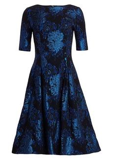 Teri Jon Metallic Jacquard Fit-&-Flare Cocktail Dress