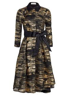 Teri Jon Metallic Jacquard Fit-&-Flare Dress