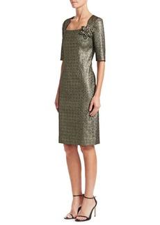 Teri Jon Metallic Jacquard Sheath Dress