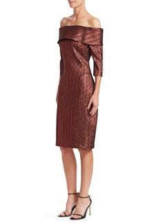 Teri Jon Metallic Off-The-Shoulder Midi Dress