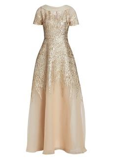 Teri Jon Metallic Organza Jacquard Dress