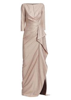 Teri Jon Metallic Ruffle Gown