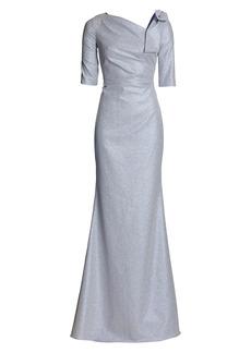 Teri Jon Metallic Shoulder Bow Gown