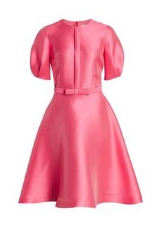 Teri Jon Mikado Pique Balloon-Sleeve Dress