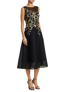 Teri Jon Neoprene Metallic Embellished Fit-&-Flare Cocktail Dress