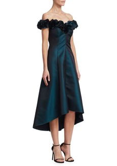 Teri Jon Off-the-Shoulder A-Line Cocktail Dress