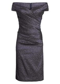Teri Jon Off-the-Shoulder Animal Print Sheath Dress