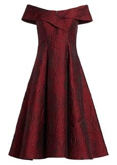 Teri Jon Off-The-Shoulder Cocktail Dress