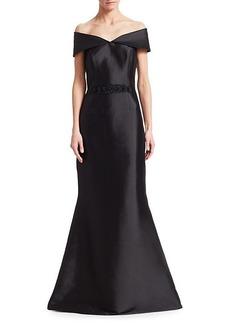 Teri Jon Off-The-Shoulder Embellished Belt Gown