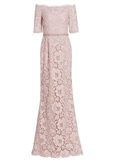 Teri Jon Off-the-Shoulder Embellished Lace Gown