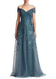 Teri Jon Off-The-Shoulder Embellished Tulle Gown