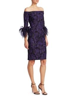 Teri Jon Off-The-Shoulder Feather & Jacquard Sheath Dress