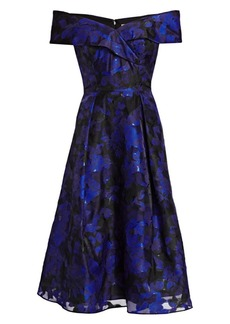 Teri Jon Off-The-Shoulder Floral Jacquard Dress
