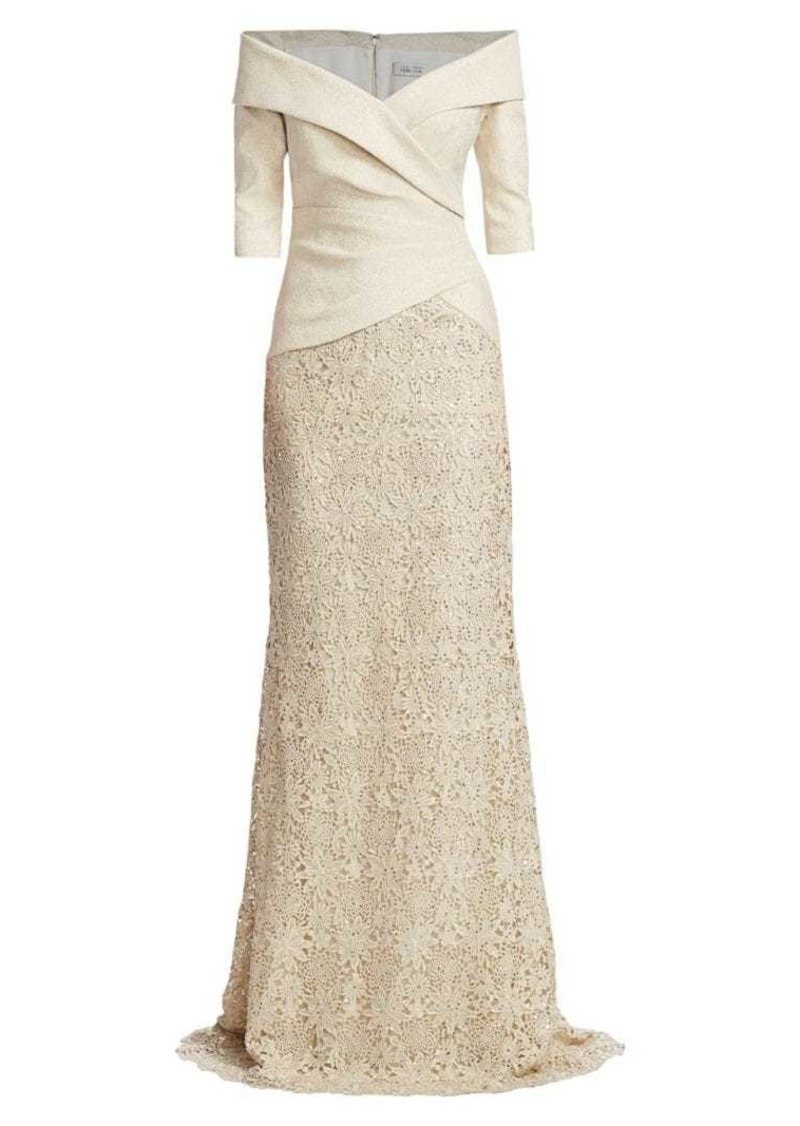 Teri Jon Off-The-Shoulder Glitter Metallic & Lace Skirt Combo Gown