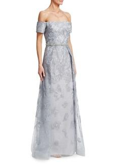 Teri Jon Off-the-Shoulder Gown