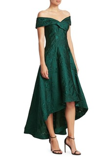 Teri Jon Off-The-Shoulder High-Low Jacquard Dress