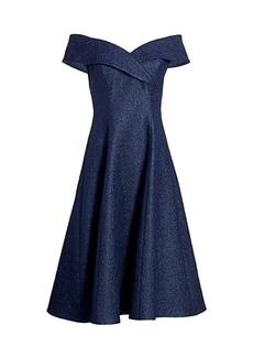 Teri Jon Off-The-Shoulder Jacquard Fit-&-Flare Dress