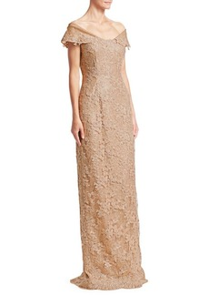 Teri Jon Off-The-Shoulder Lace & Sequin Dress