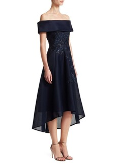 Teri Jon Off-The-Shoulder Lace Appliqué Mesh Dress