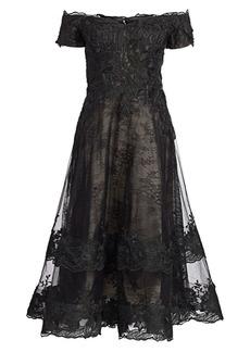 Teri Jon Off-The-Shoulder Lace Cocktail Dress
