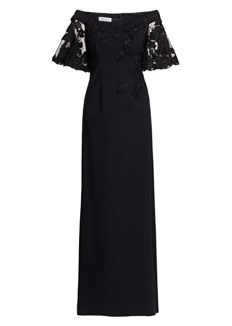 Teri Jon Off-The-Shoulder Lace Column Gown