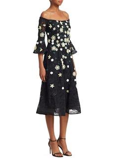 Teri Jon Off-The-Shoulder Lace Dress